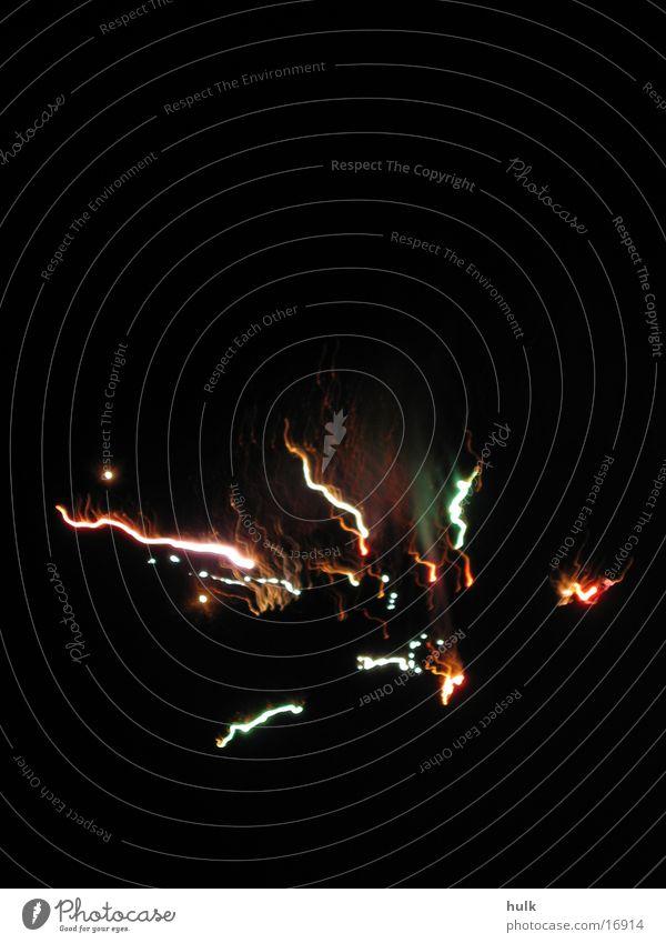 Silvester Silvester u. Neujahr mehrfarbig dunkel Nacht schwarz Licht Langzeitbelichtung Feuerwerk Brand Funken