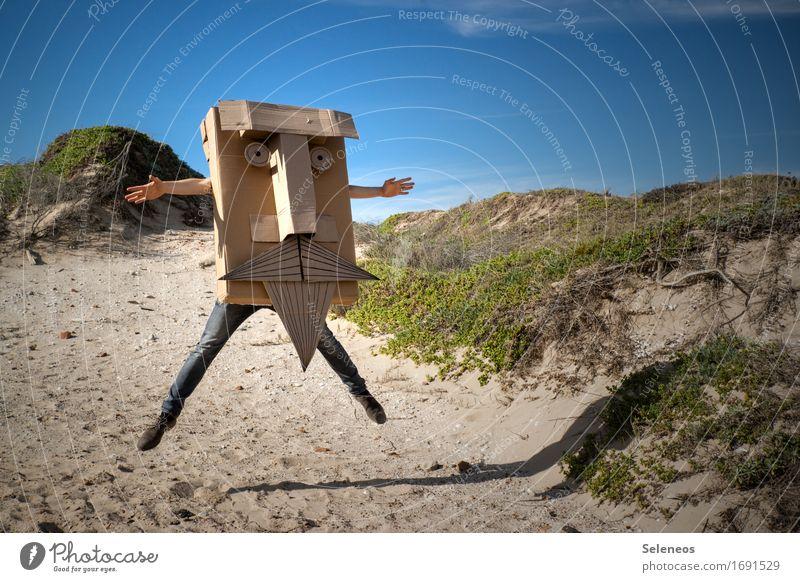 Jump, jump! Gesicht Freizeit & Hobby Spielen Handarbeit Freiheit Sport Mensch Mann Erwachsene Auge Nase Bart 1 Umwelt Natur Himmel Strand eckig Fröhlichkeit