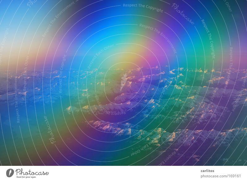Fensterplatz blau Ferien & Urlaub & Reisen Ferne kalt oben Freiheit Erde Luft Angst Klima Flugzeug außergewöhnlich Tourismus Luftverkehr beobachten Neugier