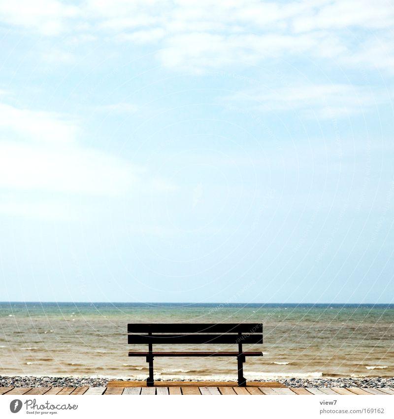 Tag am Meer Himmel blau Wasser schön Ferien & Urlaub & Reisen Sommer Strand Wolken ruhig Ferne Umwelt Freiheit Holz Küste Stein