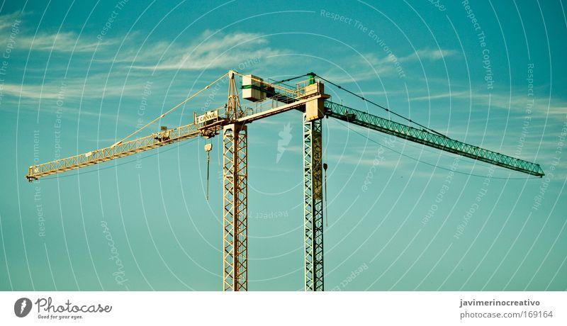 Himmel grün blau Wolken gelb Ferne Design Industrie modern Güterverkehr & Logistik Baustelle fest Handwerk Maschine Wirtschaft Handel