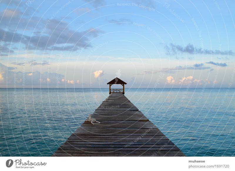 Meerblick Himmel Ferien & Urlaub & Reisen blau Sommer Wasser Erholung ruhig Küste Freiheit Horizont Schönes Wetter Wellness Fernweh Steg Anlegestelle