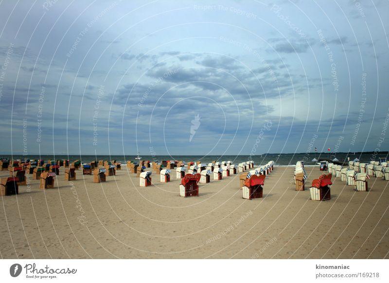 1qm Rentnerglück Himmel blau rot Ferien & Urlaub & Reisen Sommer Meer Strand Erholung Glück Stimmung Horizont braun Zufriedenheit Wellen Tourismus Wellness