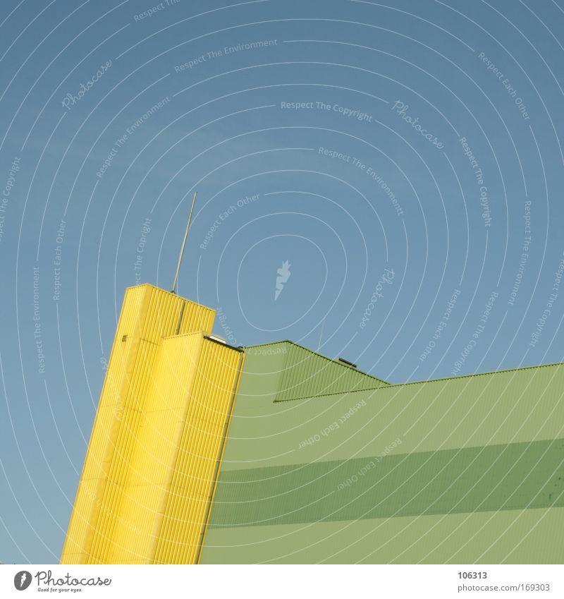 Fotonummer 125040 Himmel blau grün Haus gelb Architektur Gebäude Turm Industrie Spitze Industriefotografie einfach Bauwerk Block Antenne