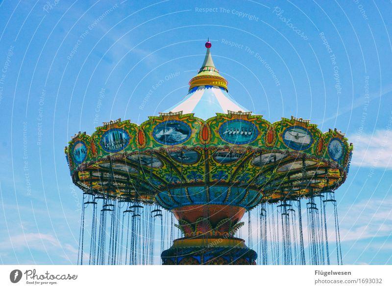 Kettenkarussell Ferien & Urlaub & Reisen Tourismus Ausflug Abenteuer Sommer Jahrmarkt Schwebebahn Seilbahn schaukeln Schweben Karussell Fahrgeschäfte