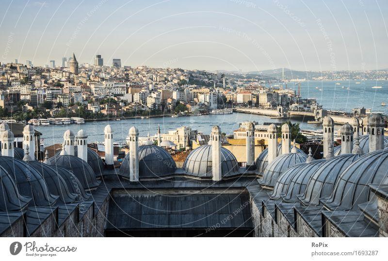 Istanbul Ferien & Urlaub & Reisen Stadt Sommer Wasser Landschaft Ferne Umwelt Architektur Wand Mauer Freiheit Tourismus ästhetisch Brücke Dach Bauwerk