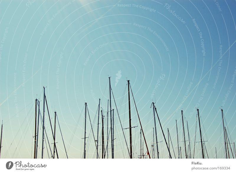 Segel ohne Boote Himmel Sonne Ferien & Urlaub & Reisen Meer Ferne Wasserfahrzeug Freizeit & Hobby Tourismus Hafen Schönes Wetter Schifffahrt Segeln Segel Mast Segelboot Wassersport
