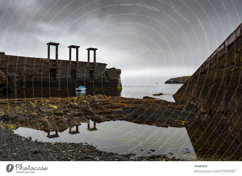 Fabrikkai Himmel alt blau Wasser Landschaft Meer Wolken Strand dunkel Wand Küste Mauer grau braun Horizont Wetter