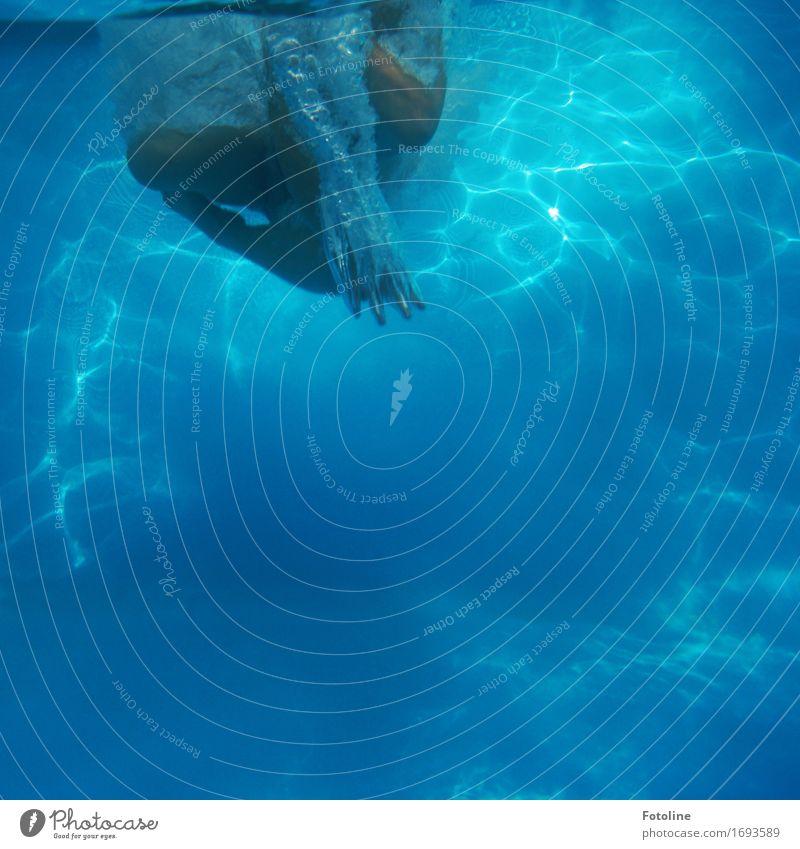Unterwasser-Art Mensch Haut Hand Finger Beine Fuß 1 Urelemente Wasser Sommer frisch kalt nass blau Schwimmbad Schwimmen & Baden tauchen Ferien & Urlaub & Reisen