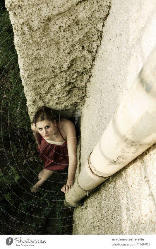 von oben herab Frau Mensch Jugendliche Hand schön Erwachsene Gesicht feminin Wand Gras Haare & Frisuren Garten Stein Mauer Beine Erde