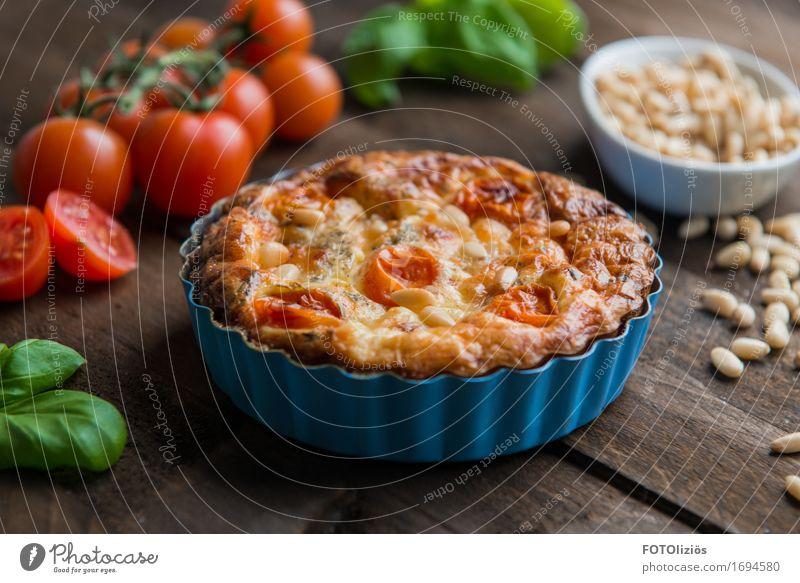 Quiche Lebensmittel Teigwaren Backwaren Tomate Basilikum Pinienkern Käse Ernährung Mittagessen Abendessen Bioprodukte Vegetarische Ernährung Diät