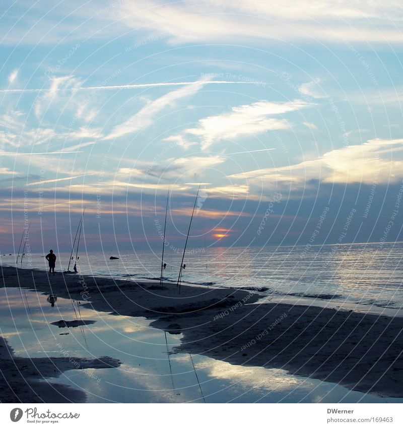 Nachtangeln Mensch Mann Natur Wasser Meer Sommer Strand Wolken ruhig Erwachsene Ferne Erholung Umwelt Leben Erde Horizont