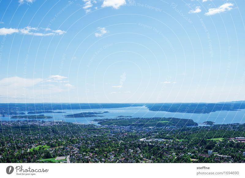 Oslo Fjord Landschaft Himmel Frühling Sommer Schönes Wetter schön oslo fjord Norwegen holmenkollen Aussicht Idylle Farbfoto Außenaufnahme Textfreiraum oben