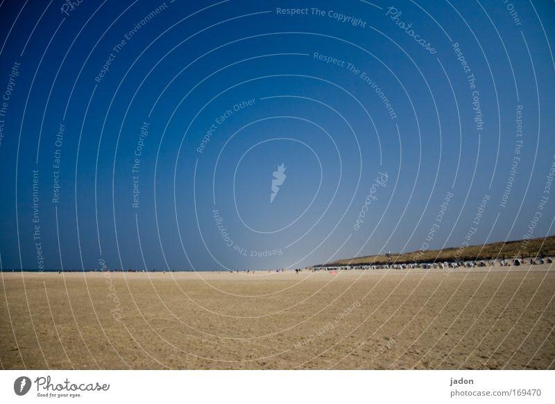 weit und breit blau Wasser Ferien & Urlaub & Reisen Meer Strand Erholung Wärme Sand Küste Insel Unendlichkeit Nordsee Schönes Wetter Sommerurlaub Fernweh Wolkenloser Himmel