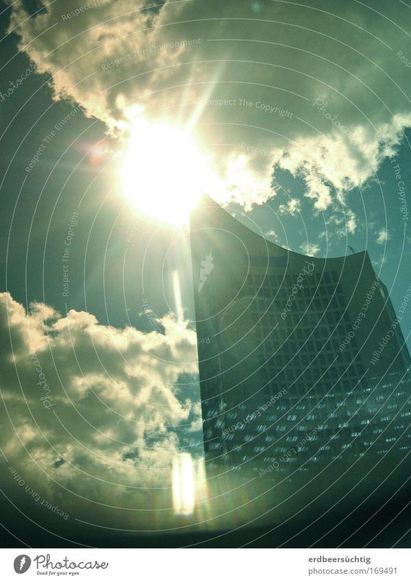 * Sunscraper Himmel blau Sonne Wolken Architektur Gebäude Hochhaus Turm Leipzig Wahrzeichen aufwärts Weisheit City-Hochhaus Leipzig himmelwärts Rundfunksender Sendeanstalt
