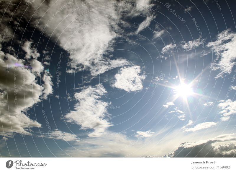 Sonnenstern Himmel weiß Sonne blau Sommer Wolken Erholung Freiheit Luft Stern Wetter frei Stern (Symbol) Klima beobachten Lebensfreude