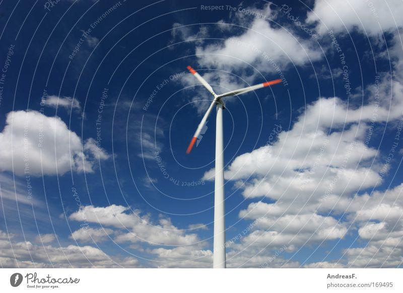 WindKraft blau Sommer Wolken Landschaft Luft Umwelt Industrie Energiewirtschaft Elektrizität Technik & Technologie Klima Windkraftanlage drehen Schönes Wetter