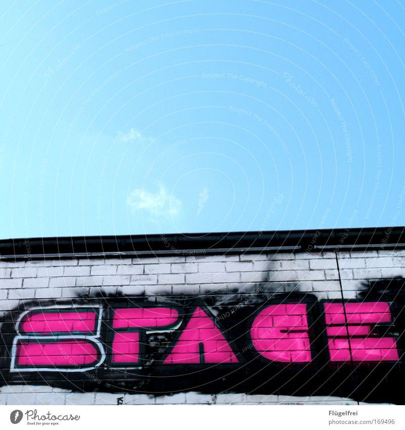Lost in Himmel Graffiti Wand Mauer Freiheit Stein Stil Kunst rosa dreckig hoch Schönes Wetter Unendlichkeit Kitsch Disco Club