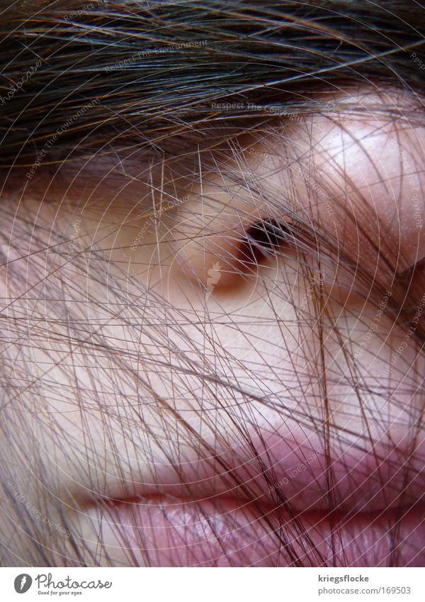 Vernetzt Frau Mensch Jugendliche ruhig Erwachsene Gesicht feminin kalt Kopf Haare & Frisuren Mund Haut Nase authentisch Pause