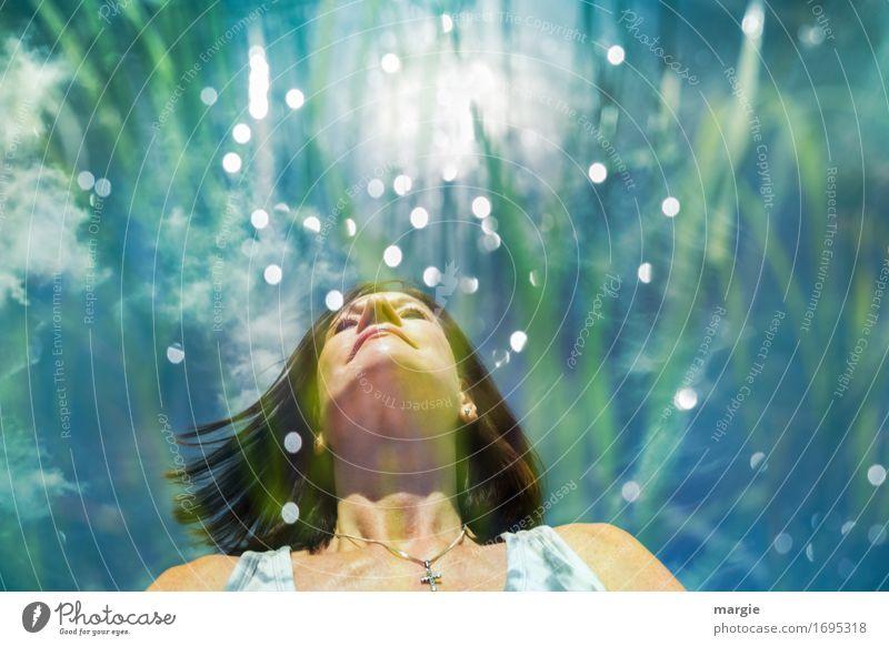 Lichtenergie Mensch Frau Jugendliche blau grün Junge Frau Erwachsene feminin harmonisch