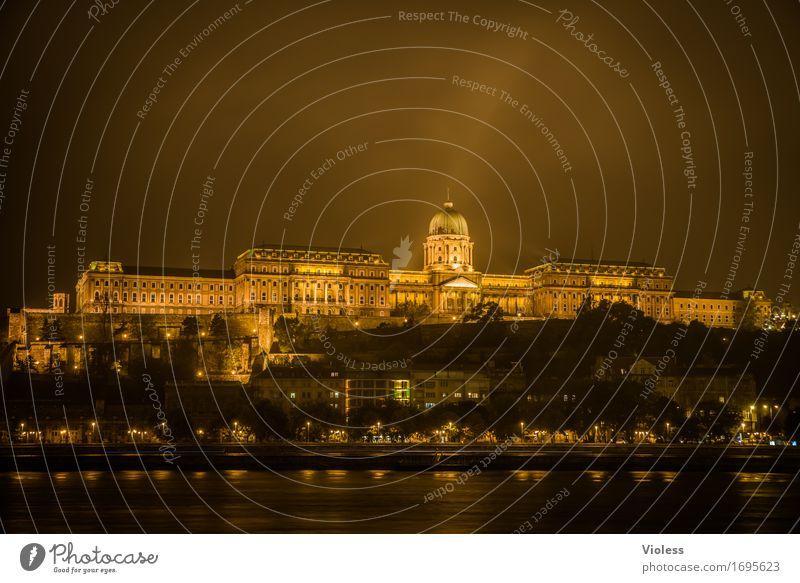 Burgpalast Altstadt Bauwerk Architektur Sehenswürdigkeit Wahrzeichen Denkmal alt dunkel gold Donau Budapest Beleuchtung Nachtaufnahme Langzeitbelichtung