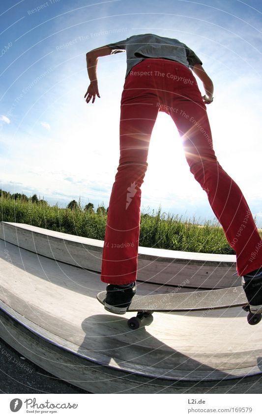 A PERFECT DAY Farbfoto Außenaufnahme Textfreiraum links Kontrast Sonnenlicht Sonnenstrahlen Gegenlicht Ganzkörperaufnahme Rückansicht Sport Sportler Skateboard