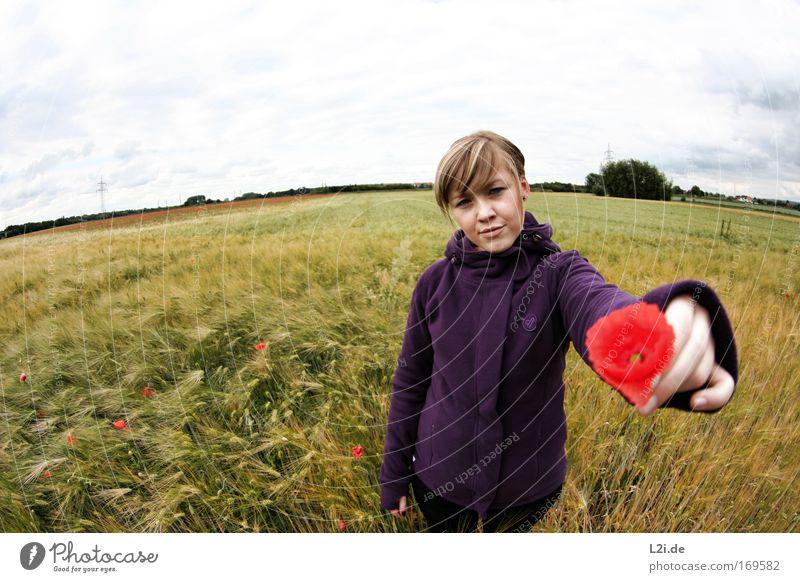 FÜR DICH Mensch Himmel Natur Jugendliche blau Hand grün rot Pflanze Blume Gesicht Erwachsene Umwelt Landschaft feminin Gras