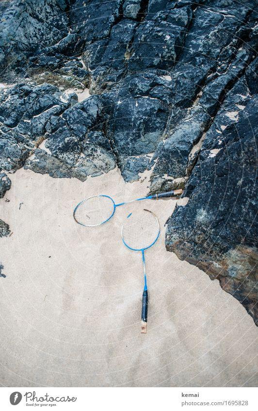 Game over Freizeit & Hobby Spielen Badminton Federball Schläger Federballschläger Ferien & Urlaub & Reisen Sommerurlaub Strand Natur Felsen Sandstrand liegen