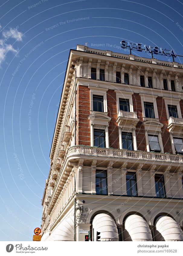 Svenska Stadt Haus Fenster Stein Gebäude Architektur Hochhaus Fassade ästhetisch Tourismus Bankgebäude Schriftzeichen Geldinstitut entdecken Reichtum