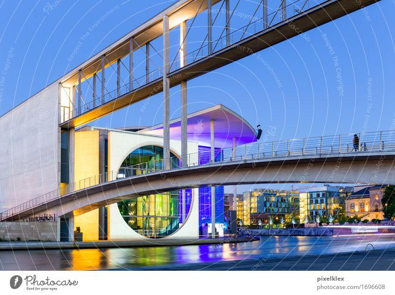 Kanzleramt bei Nacht Stadt Haus gelb Architektur Berlin Gebäude Deutschland modern Erfolg Europa Brücke Macht Fluss violett neu Bauwerk