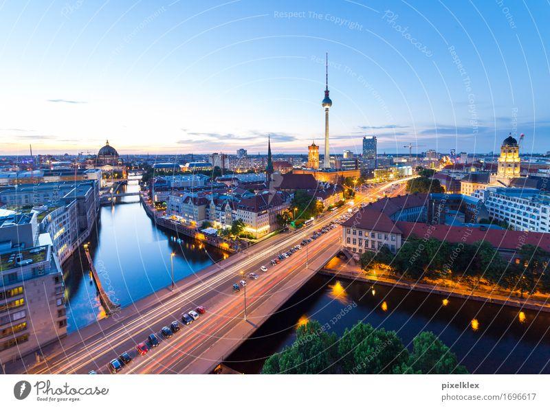 Skyline Berlin Tourismus Städtereise Nachtleben Sonnenaufgang Sonnenuntergang Deutschland Stadt Hauptstadt Stadtzentrum Haus Hochhaus Bankgebäude Brücke Gebäude