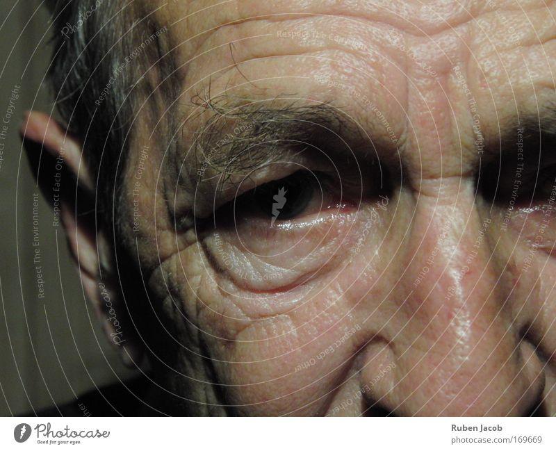 Gesichter können Geschichten erzählen Mensch Mann alt Senior Auge dunkel Traurigkeit maskulin Nase Porträt Ohr Hautfalten Großvater Augenbraue demütig