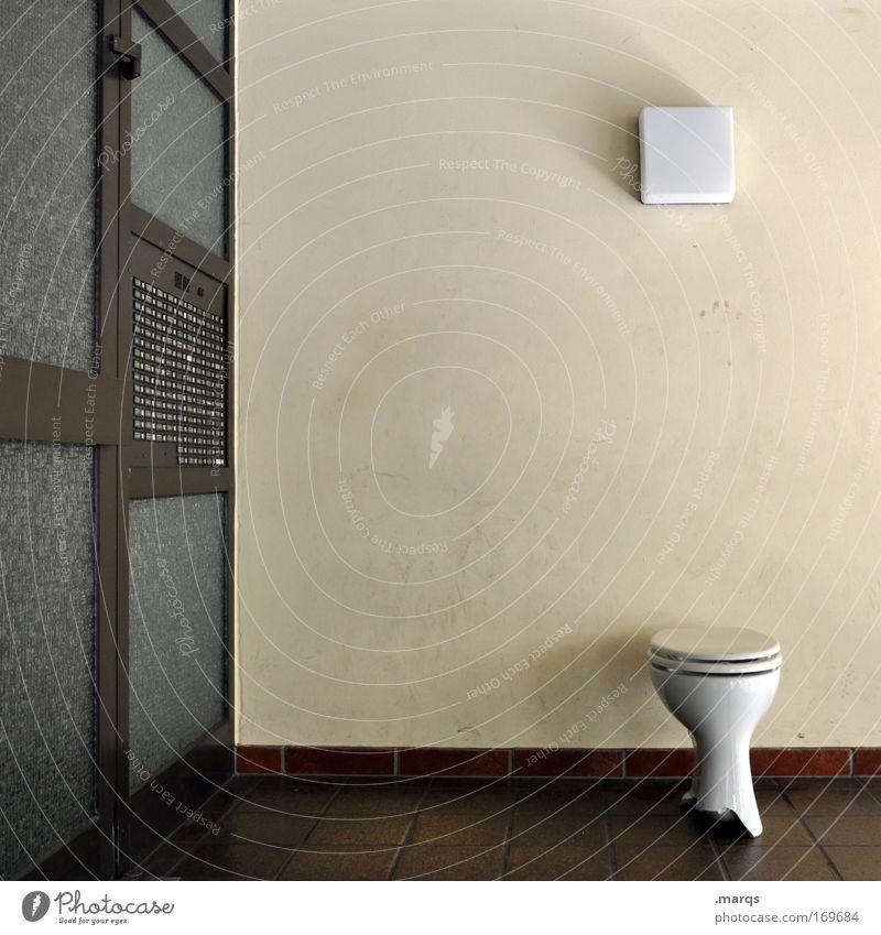 Austreten Stadt Haus Tür Wohnung außergewöhnlich verrückt Häusliches Leben einzigartig Kommunizieren Toilette skurril Eingang Erwartung Klingel Mieter hocken