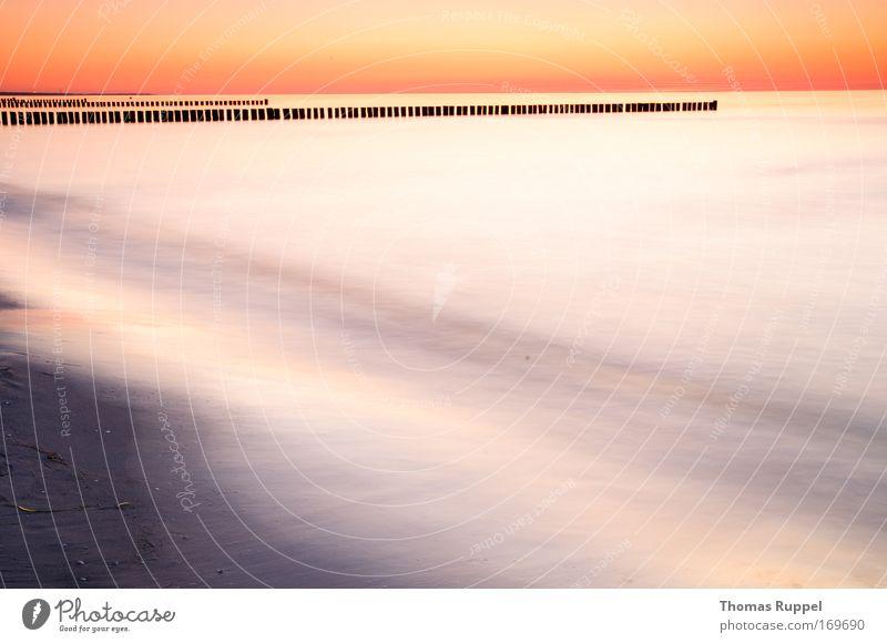 Orange am Meer Himmel Natur Wasser schön Ferien & Urlaub & Reisen Sonne Sommer Meer Strand ruhig Ferne gelb Landschaft Freiheit Sand Küste