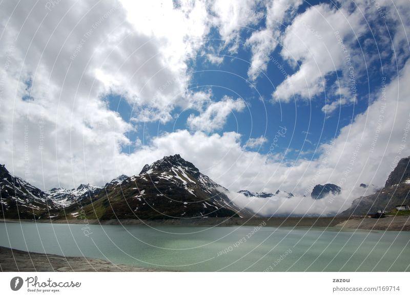 Alpenwatte Natur Wasser Himmel Wolken Einsamkeit Berge u. Gebirge See Landschaft Luft Wetter Umwelt Alpen Gipfel Seeufer Österreich Gletscher