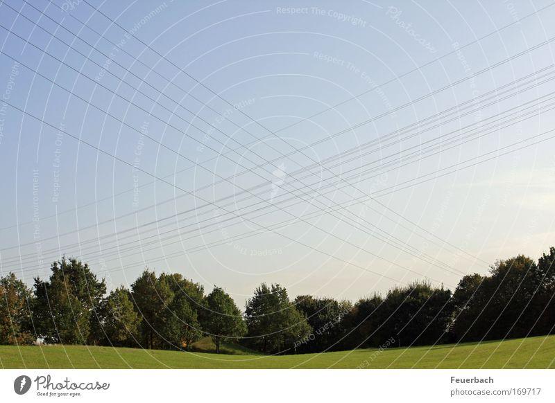 Spuren Außerirdischer? Himmel blau grün Baum Sommer Wiese Umwelt Landschaft Gras Linie Park Energiewirtschaft Netzwerk Kabel Technik & Technologie Hügel