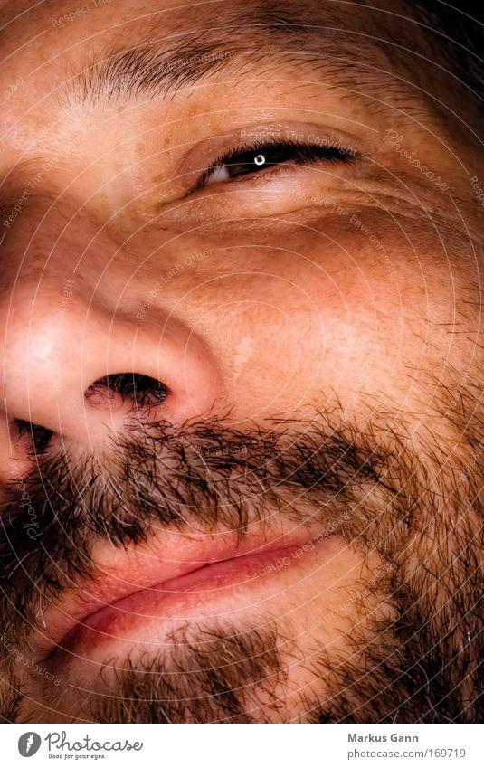 Mann mit Bart Farbfoto Makroaufnahme Blitzlichtaufnahme Porträt Blick in die Kamera Zwinkern Gesicht Mensch maskulin Erwachsene Kopf Haare & Frisuren Auge Ohr