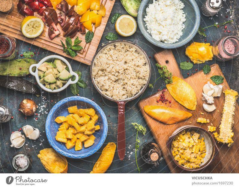 Quinoa Salat Zubereitung Sommer Gesunde Ernährung Leben Stil Lebensmittel Design Frucht Häusliches Leben Tisch Kräuter & Gewürze Küche Gemüse Bioprodukte