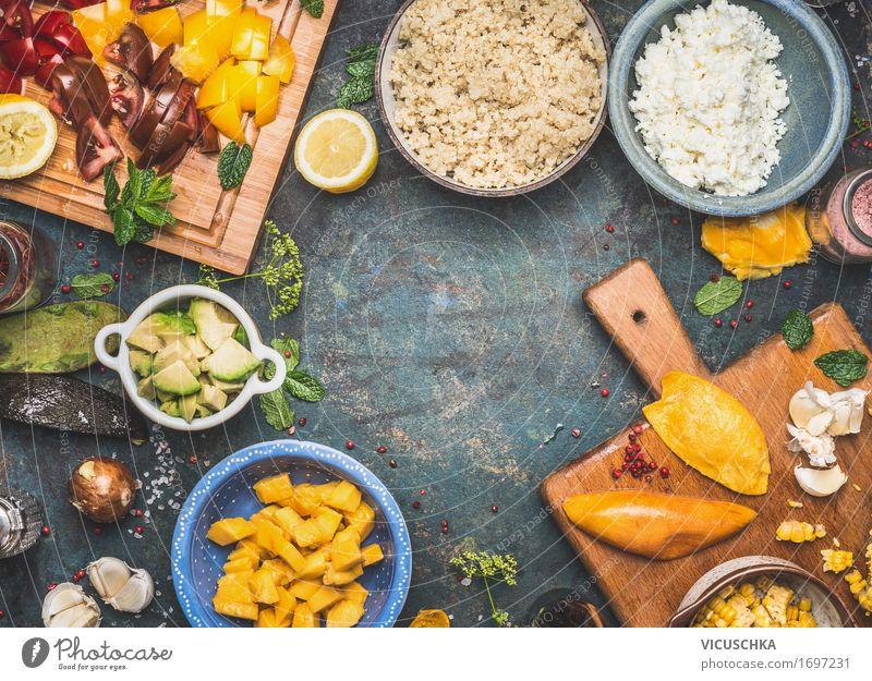 Quinoa Salat Zutaten Lebensmittel Gemüse Salatbeilage Getreide Kräuter & Gewürze Öl Ernährung Mittagessen Abendessen Festessen Picknick Bioprodukte