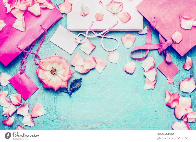 Rosa Papier Einkaufstaschen und Blumen Lifestyle kaufen Stil Design Freude Party Valentinstag Muttertag Geburtstag Verpackung Dekoration & Verzierung Schleife