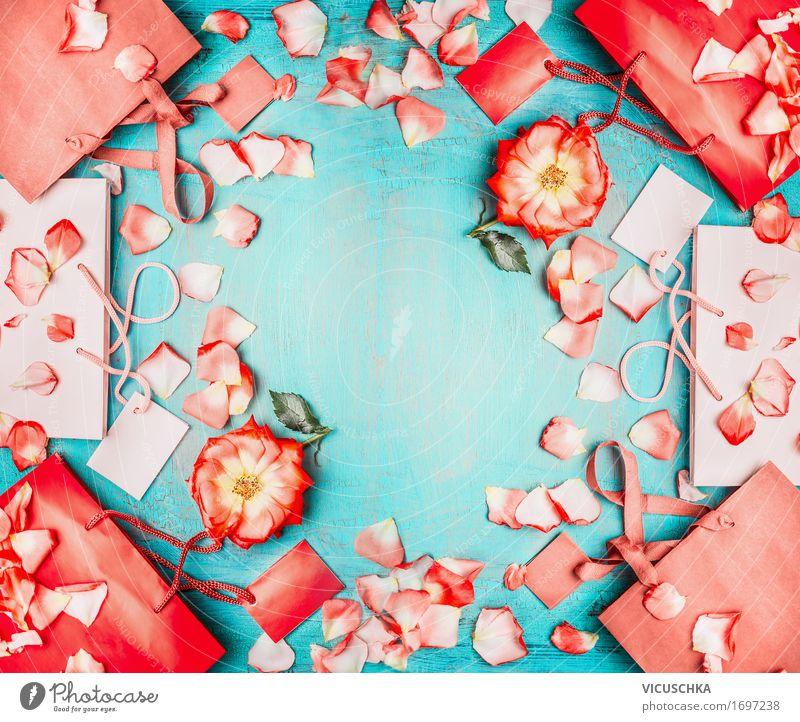 Rote Papier Einkaufstüten mit roten Blumen kaufen Reichtum Stil Design Sommer Feste & Feiern Valentinstag Business Natur Mode Accessoire Paket Zeichen Liebe