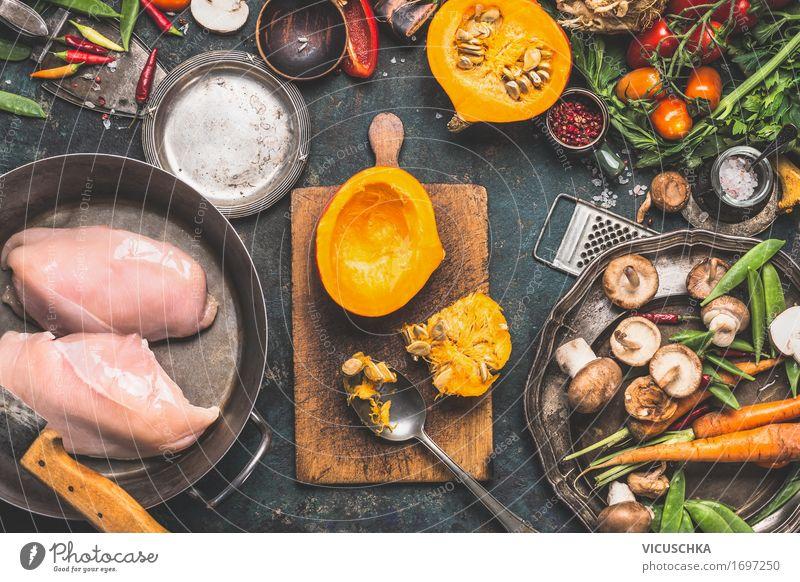 Herbst Kochen mit Kürbis und Pilze Gesunde Ernährung Freude Winter gelb Leben Stil Lebensmittel Design Häusliches Leben retro Tisch Kräuter & Gewürze Küche