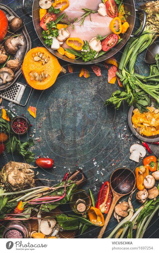 Hähnchenbrust mit Kürbis und Gemüse Zutaten Gesunde Ernährung Winter gelb Leben Stil Lebensmittel Design Tisch Kräuter & Gewürze Küche Bioprodukte Restaurant