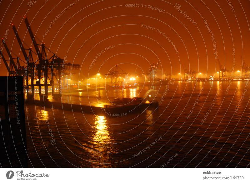 Heimathafen Hamburg Farbfoto Abend Licht Panorama (Aussicht) Weitwinkel Schifffahrt Hafen Container Ferien & Urlaub & Reisen Wachstum Reichtum Containerterminal