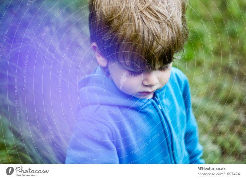 lila wölkchen Mensch Kind Natur blau grün Gesicht Umwelt Gefühle Wiese natürlich Junge klein maskulin Feld blond authentisch