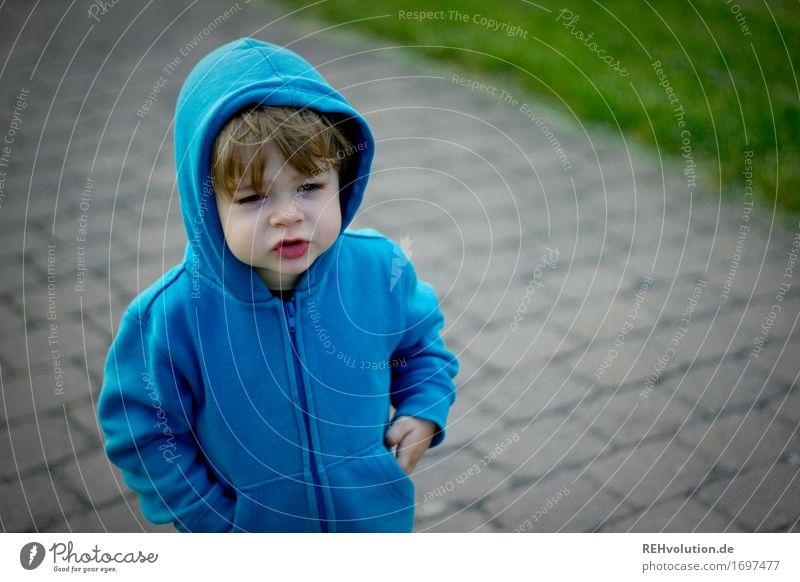 Lieblingspulli Mensch Kind blau Gesicht sprechen Gefühle Wege & Pfade Junge klein maskulin Ausflug Kindheit stehen niedlich Coolness Kleinkind