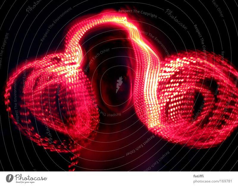 lichtlocken Mensch weiß rot Farbe schwarz Gesicht Bewegung Haare & Frisuren lustig Linie Haut frei Geschwindigkeit Kraft Vergänglichkeit Kunststoff