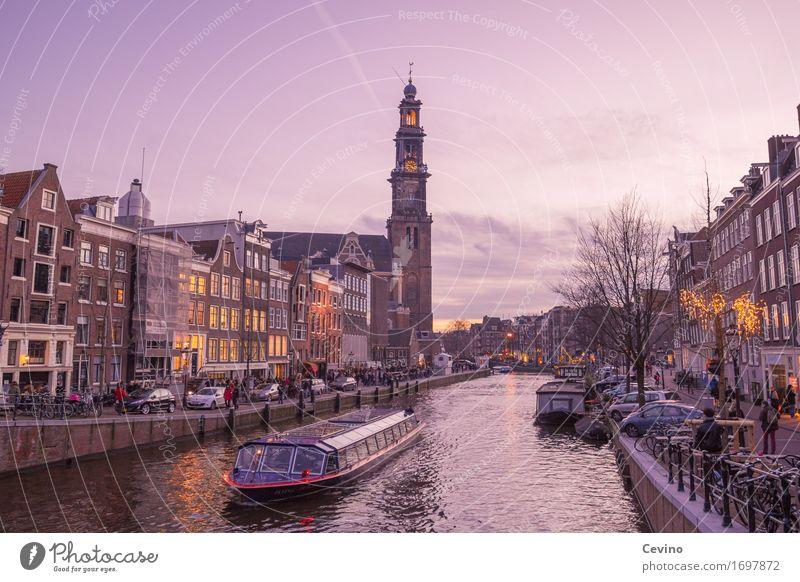 Amsterdam VIII Winter Fluss Niederlande Europa Stadt Hauptstadt Stadtzentrum Kirche Dom Bauwerk Gebäude Verkehr Verkehrswege Personenverkehr Schifffahrt