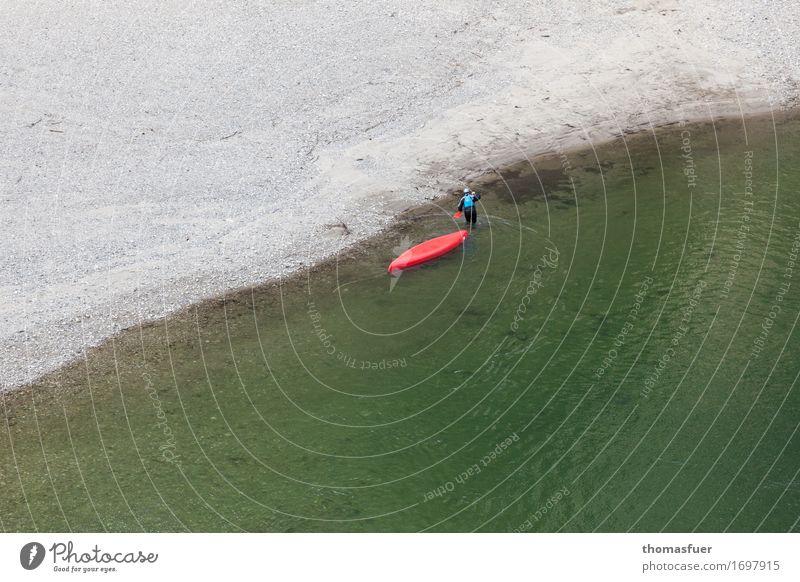 nasse Füße Mensch Mann Sommer grün Wasser Erwachsene Sport grau gehen maskulin Freizeit & Hobby Schönes Wetter Abenteuer Fluss Flussufer Schlucht