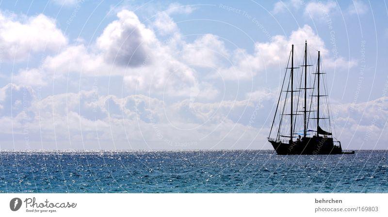 black pearl Wasser schön Himmel Meer Ferien & Urlaub & Reisen Wolken Wasserfahrzeug Ferne Freiheit träumen Wellen glänzend Ausflug Abenteuer Insel Tourismus